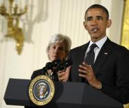 Susan Walsh | The Associated Press President Barack Obama with Health and Human Services Secretary Kathleen Sebelius.